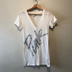 Victoria Secret PINK White Sequin V Neck T-shirt